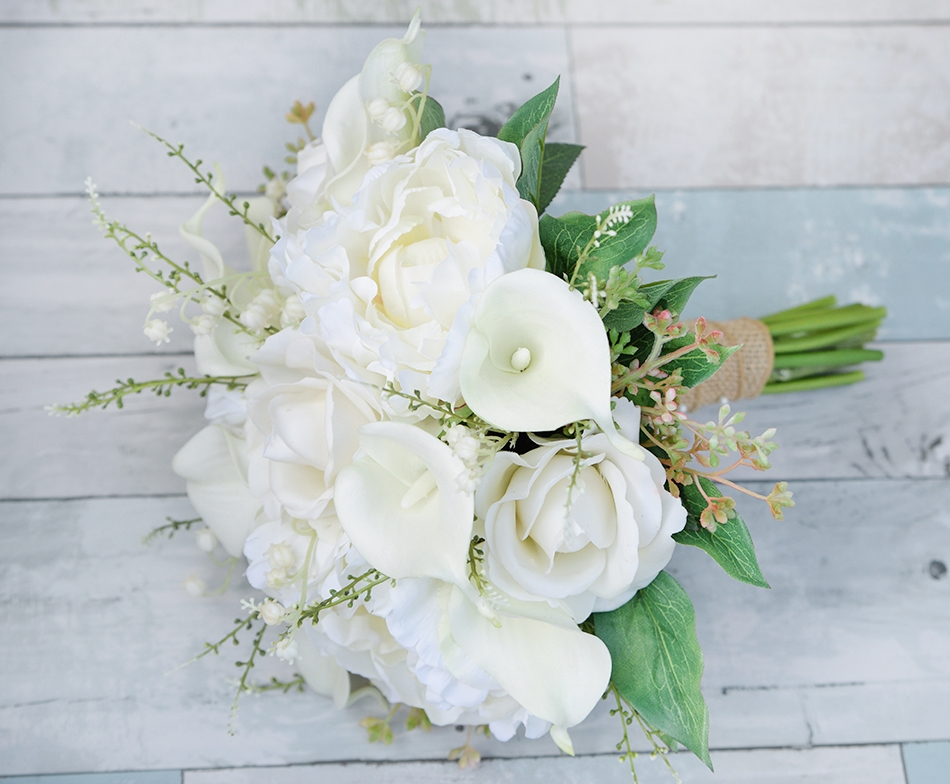 Natural Touch Off White Roses Calla Lilies Peonies
