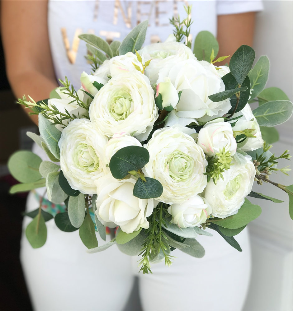 Boho real touch silk wedding bouquet with off white ranunculus and alternative views izmirmasajfo