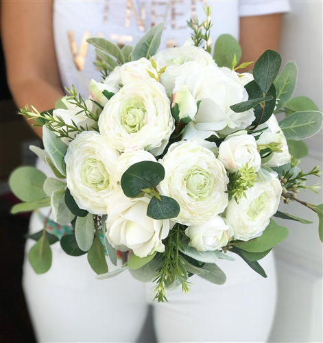 Real Touch Silk Wedding Bouquet with Off White Ranunculus and Roses - Eucalyptus