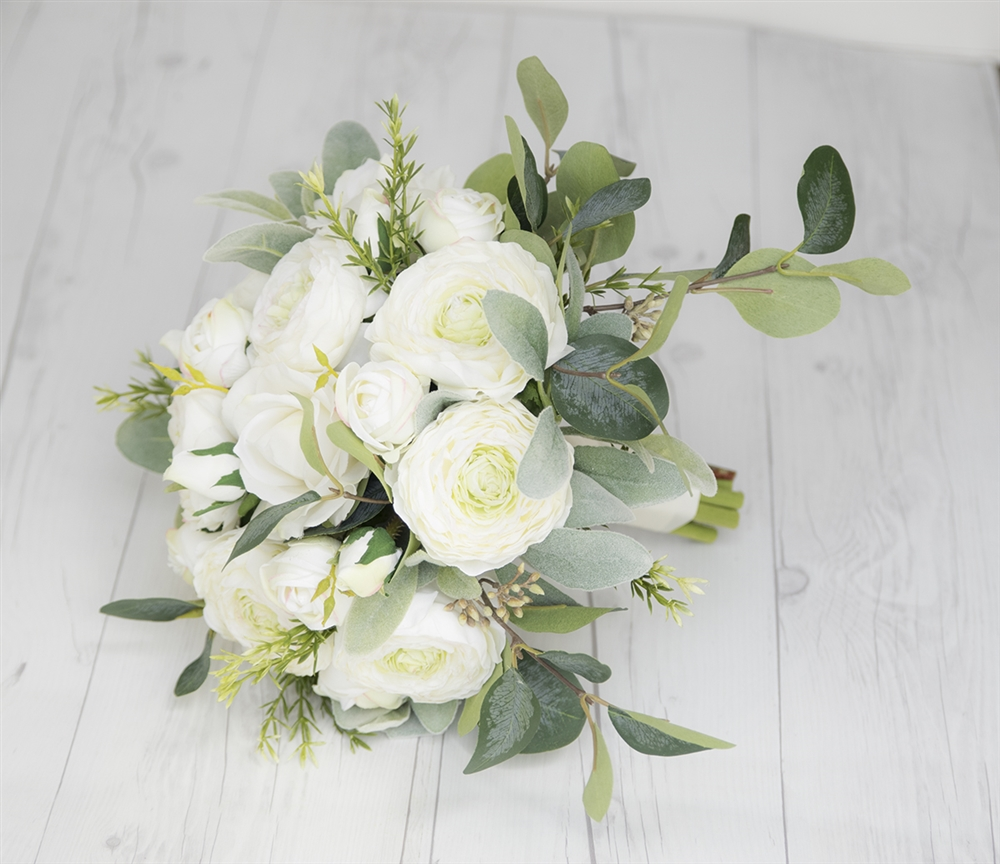 Boho real touch silk wedding bouquet with off white ranunculus and starts izmirmasajfo