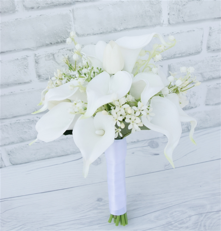 Silk Wedding Bouquet Natural Touch Ivory Calla Lilies with Royal Blue Satin Ribbon Bridal Wedding Bouquet