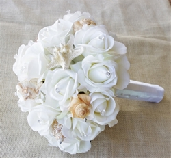 Seashells & Real Touch Off-White Roses Beach Wedding Bouquet