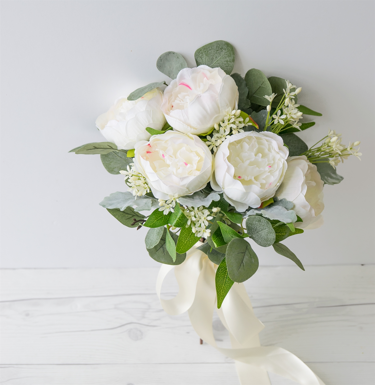 Wedding White Bouquet: Natural Touch Roses Peony Silk Wedding Bouquet