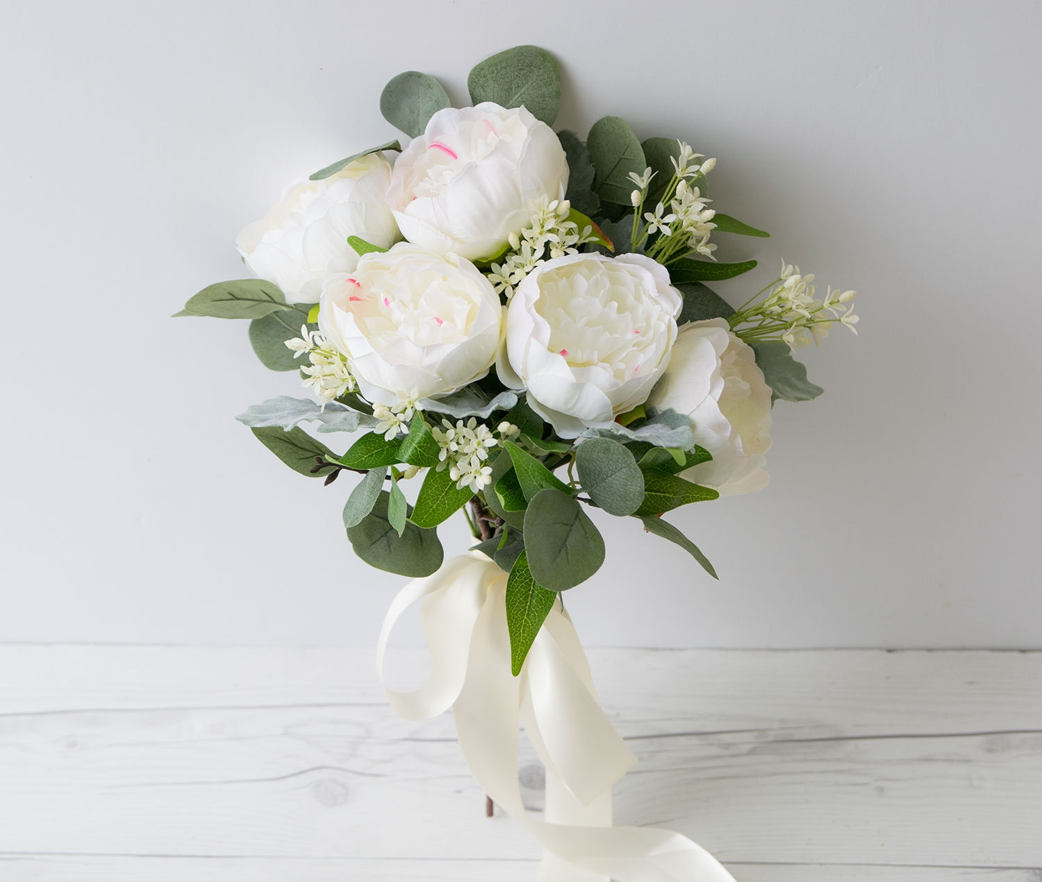 White and Cream Silk Wedding Peony Bouquet - The best silk faux Flowers