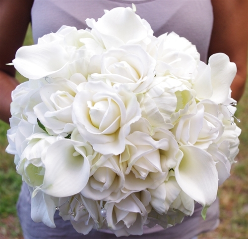 Silk wedding bouquet of roses callas and peonies real touch bridal alternative views mightylinksfo