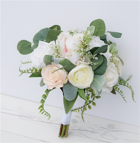 Champagne Ivory Rustic Garden Roses and Sprays Silk Wedding Bouquet