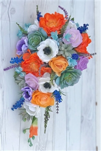 Natural Touch Pink & Orange Roses Cascading Bouquet