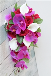 Natural Touch Fuchsia Hot Pink Red Orchid, Callas and Roses Silk Wedding Bouquet
