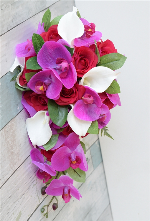 Natural touch fuchsia hot pink red orchid callas and roses silk alternative views mightylinksfo