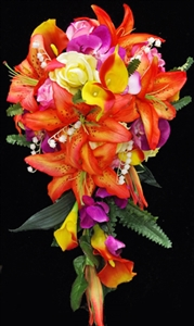 Natural Touch Tropical Orange & Fuchsia Lily Cascade Silk Wedding Bouquet