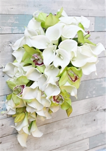 Natural Touch Off White and Green Orchids and Off White Callas Cascading Bouquet