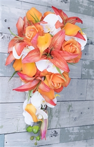 Natural Touch Tropical Orange & Coral  Lily Cascade Silk Wedding Bouquet