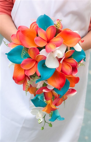 Natural Touch Tropical Teal Coral Plumerias Callas Cascade Silk Wedding Bouquet
