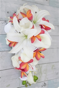 Natural Touch Tropical Casablanca Lily Plumerias Coral Silk Wedding Bouquet
