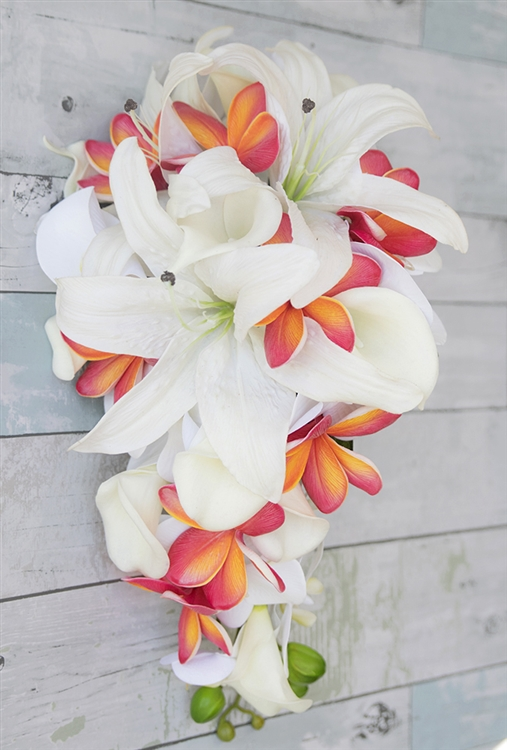 Natural Touch Tropical Casablanca Lily Plumerias Coral
