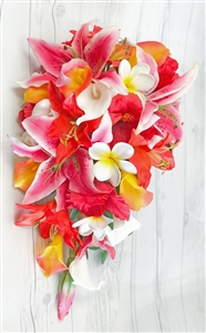 Natural Touch Pink Red Orange Cascade Bouquet - Stargazer, Plumerias, Callas and Hibiscus Silk Wedding Tropical Bouquet