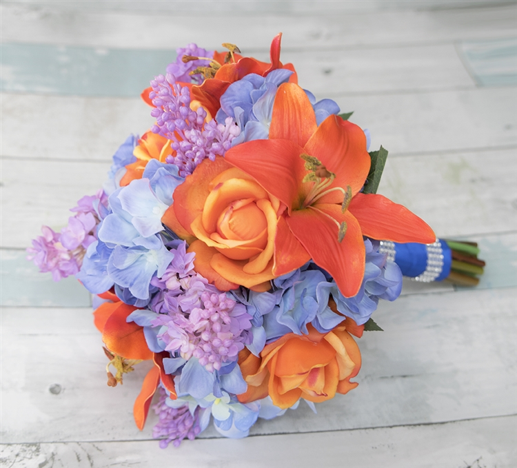 Orange Lilac And Blue Bouquet Of Lilies Roses And Hydrangeas