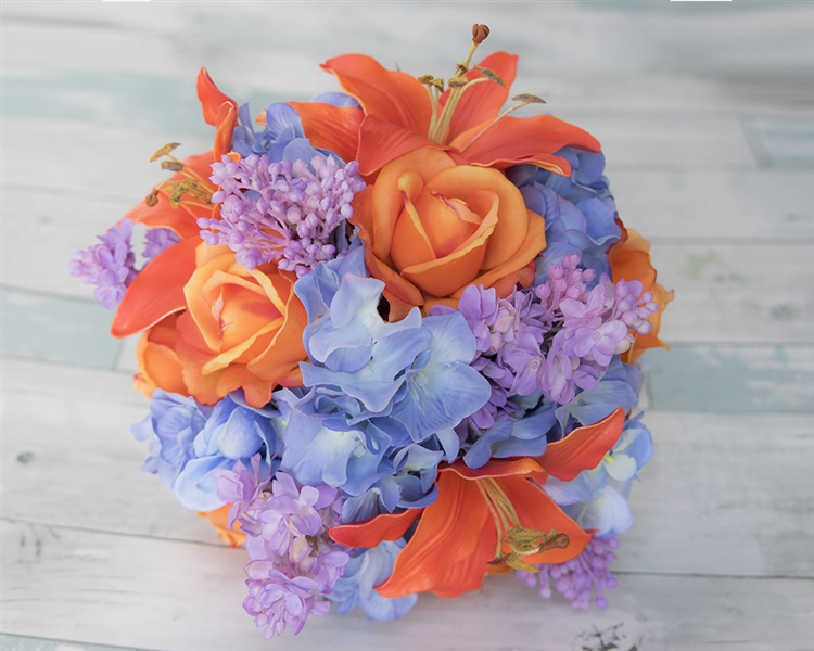 Orange Lilac And Blue Bouquet Of Lilies Roses Hydrangeas Real Touch Silk Wedding Flowers