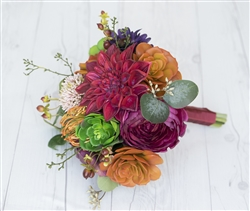Natural Touch Fall Woodland Bouquet - Burgundy Wine Peonies and Succulents Silk Wedding Bouquet