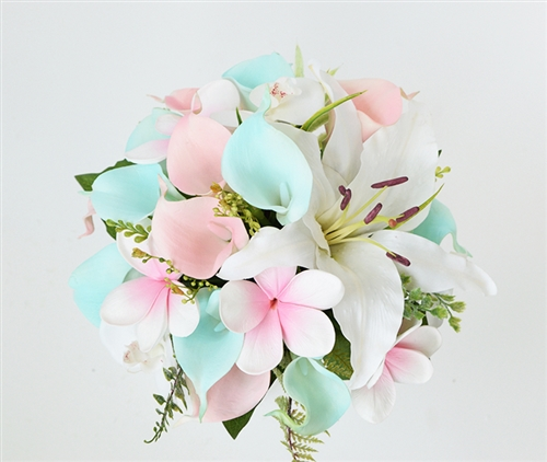 Tiffany Blush Pink Silk Wedding Bouquet - Callas, Lilies and Plumeria Delicate Tropical Real Touch Bouquet