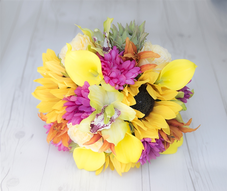 Sunflowers daisies orchids callas yellow fuchsia real touch silk sunflowers daisies orchids callas yellow fuchsia real touch silk wedding bouquet mightylinksfo