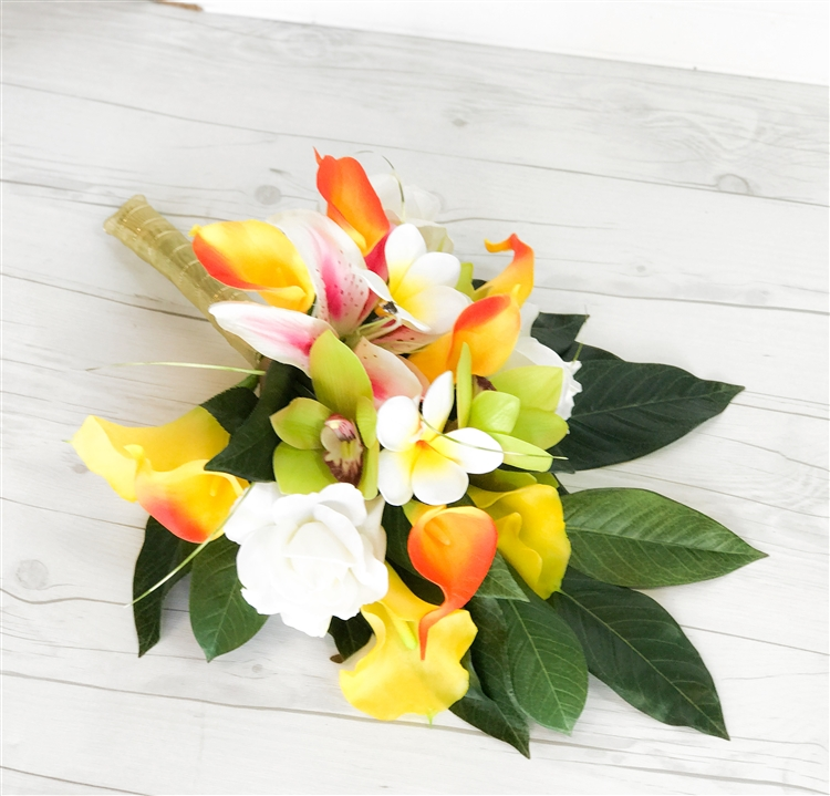 Silk Wedding Tropical Bouquet Mix in Orange, Yellow, Green and Pink ...