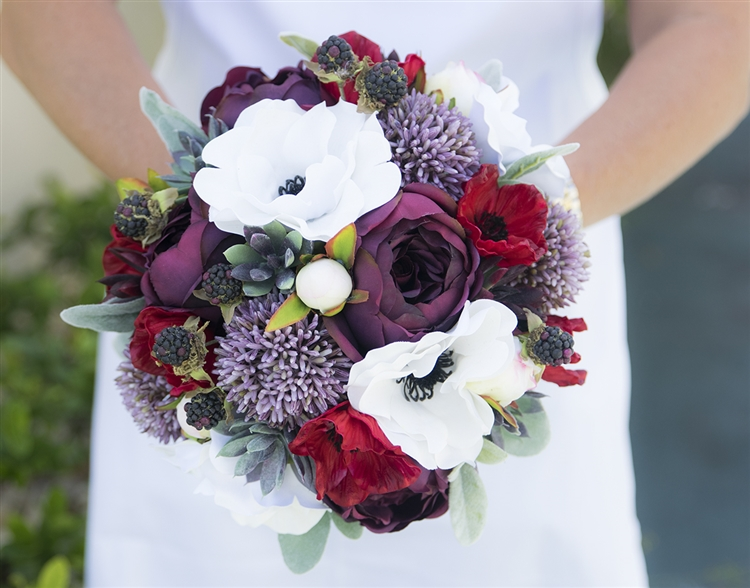Plum & Red Boho Vintage Garden Bouquet - Real Touch Anemone, Peonies ...