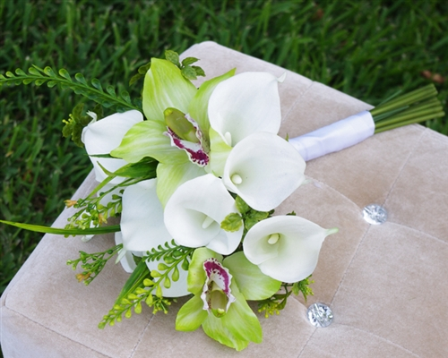 Red Touch Calla Lilies and Green Orchids Bouquet - Green Spray Fillers Silk Wedding Bouquet