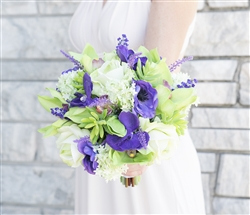Purple Green Orchids, Roses & Succulents Tropical Mix Real Touch Silk Wedding Bouquet