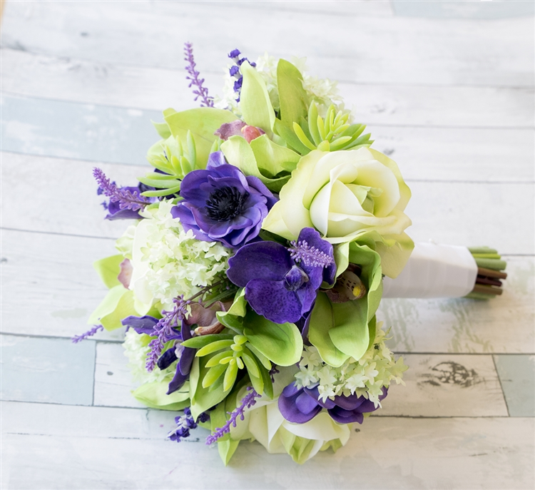 Purple Green Orchids, Roses & Succulents Tropical Mix Real Touch ...