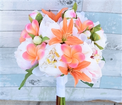 Silk Blush and Coral Peonies, Plumerias and Lilies Real Touch Faux Bouquet