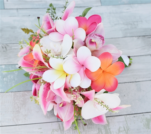 Natural Touch Pink, Fuchsia and Coral Plumerias, Stargazers and Calla Sprays Silk Wedding Bouquet