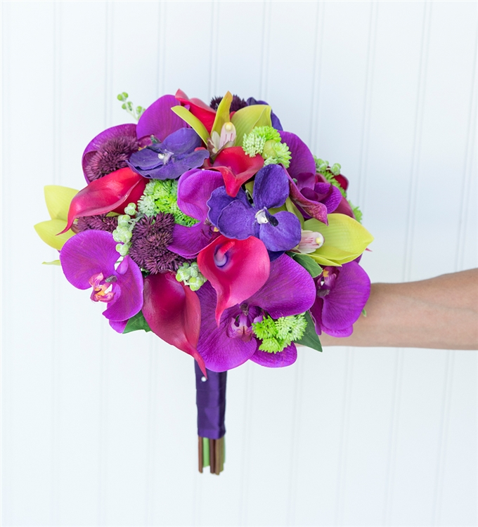 0eb6207620b Purple Fuchsia Mix Silk Wedding Bouquet - Tropical Orchids and Callas Real  Touch Wedding Flowers