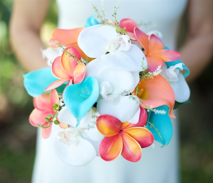 Teal Turquoise and Coral Natural Touch Green Orchids, Plumerias ...