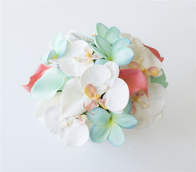 Tiffany, Coral & Off White Bouquet of Real Touch Orchids, Plumerias ...