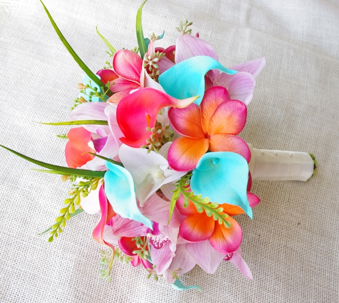 Natural Touch Pink, Turquoise and Coral Plumerias and Calla Sprays ...