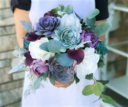 Boho Rustic & Woodlands Theme Bouquet, made with Natural Touch Succulents, Roses and Peonies in a Sage Purple Plum color mix.