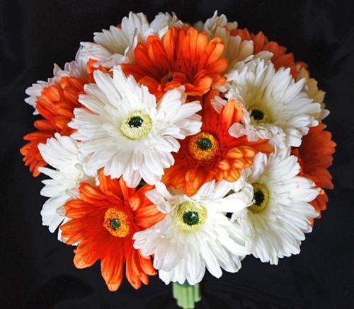 Orange Natural Touch Gerbera Daisy Bouquet Real Sik Wedding