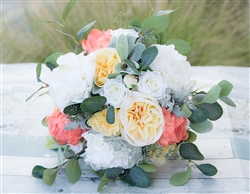 Boho Chic Lush Bouquet - Peach Yelllow Off White Peonies, Roses and Eucalyptus Mix Bouquet