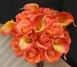Natural Touch Orange Rose Bouquet
