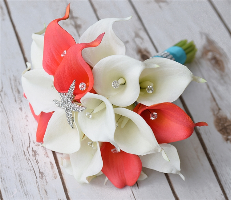 Off white and coral calla lilies and starfish brooch real touch silk off white and coral calla lilies and starfish brooch real touch silk flower bouquet mightylinksfo