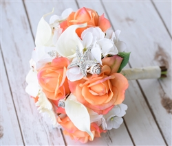 Natural Touch Off White Calla Lilies, Coral Roses and Seashells Bouquet
