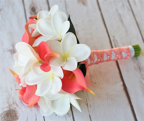 Real Touch Calla Lilies and Plumerias Coral Off White Mix Silk Wedding Bouquet
