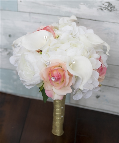 Peach Roses, Peonies and Calla Lilies Silk Wedding Flower Bouquet - Real Touch Roses!