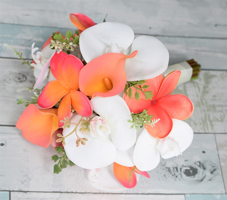 Natural touch off white plumerias orchids and coral calla lilies natural touch off white plumerias orchids and coral calla lilies wedding bouquet junglespirit Choice Image
