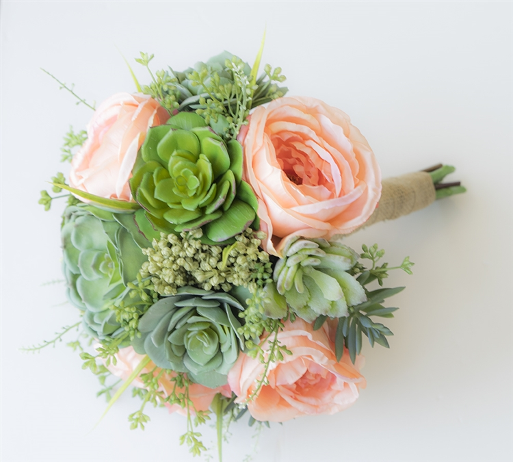 Peach Succulents Sprays Real Touch Silk Wedding Flower Bouquet