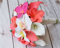 Natural Touch Coral Plumerias & Orchids