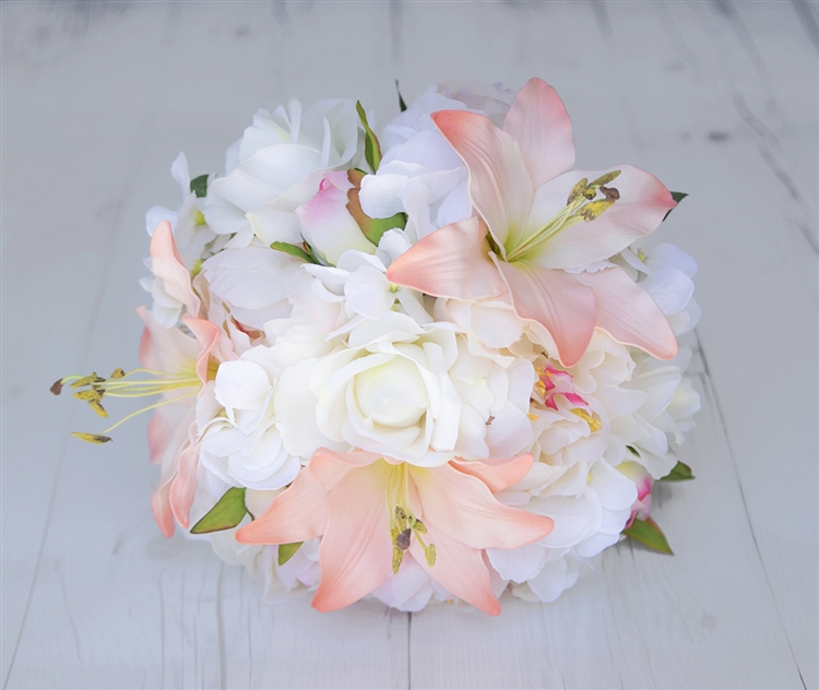 Peach Blush Liies Peonies And Roses Silk Real Touch Wedding Flower Bouquet