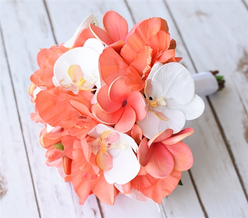 Natural Touch Silk Coral And Off White Hibiscus And Plumerias