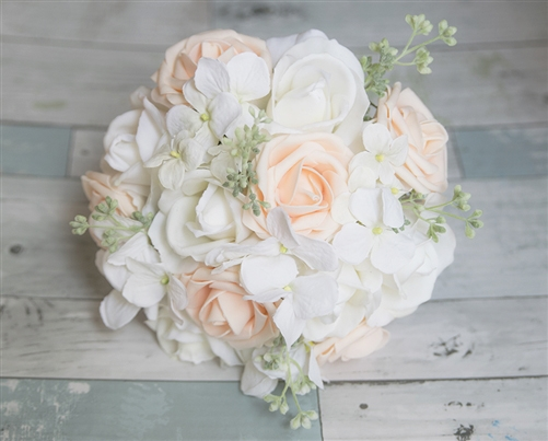 natural touch off white and soft touch peach roses hydrangeas and spring green mix bouquet - Garden Rose And Hydrangea Bouquet